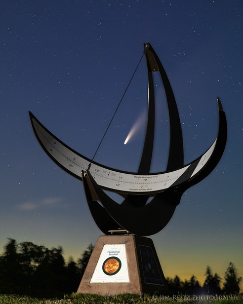 What time is it? Comet time! A large sundial clock here on Bainbridge Island marks the passage of Comet NEOWISE last night.