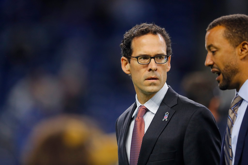 . Cleveland Browns Chief Strategy Officer Paul DePodesta walks on the field during pregame of an NFL football game against the Detroit Lions, Sunday, Nov. 12, 2017, in Detroit. (AP Photo/Paul Sancya)