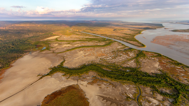 Aerial view of the mouth and wetlands of the Isdell River. Walcott Inlet, Kimberley, Western Australia.