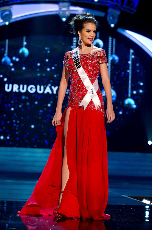 . Miss Uruguay Camila Vezzoso competes in an evening gown of her choice during the Evening Gown Competition of the 2012 Miss Universe Presentation Show at PH Live in Las Vegas, Nevada December 13, 2012. The 89 Miss Universe Contestants will compete for the Diamond Nexus Crown on December 19, 2012. REUTERS/Darren Decker/Miss Universe Organization/Handout