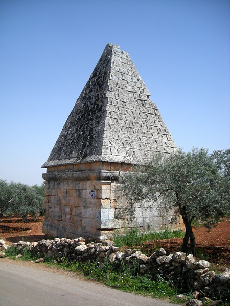 a pyramid topped tomb in the Byzantine era ruins at Al-Bara