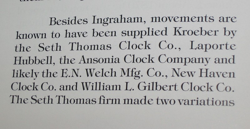 """Excerpt from the book """"Kroeber Clocks"""" listing companies who made movements for Kroeber"""