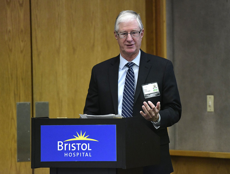2/12/2019 Mike Orazzi | Staff Bristol Hospital Chairman of the Board Douglas Devnew during the President's Forum Breakfast Tuesday morning.