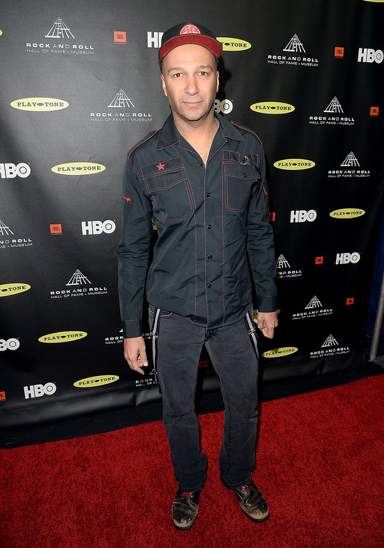 . Musician Tom Morello arrives at the 28th Annual Rock and Roll Hall of Fame Induction Ceremony at Nokia Theatre L.A. Live on April 18, 2013 in Los Angeles, California.  (Photo by Jason Merritt/Getty Images)
