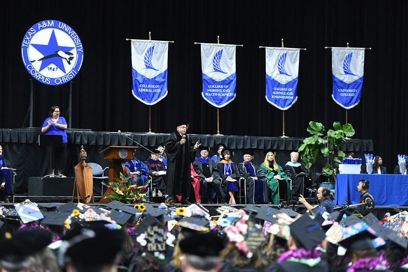 Dr. Eliot Chenaux, Vice President of Student Affairs Emeritus, gives the commencement address at the Texas A&M University-Corpus Christi summer 2019 commencement ceremony.