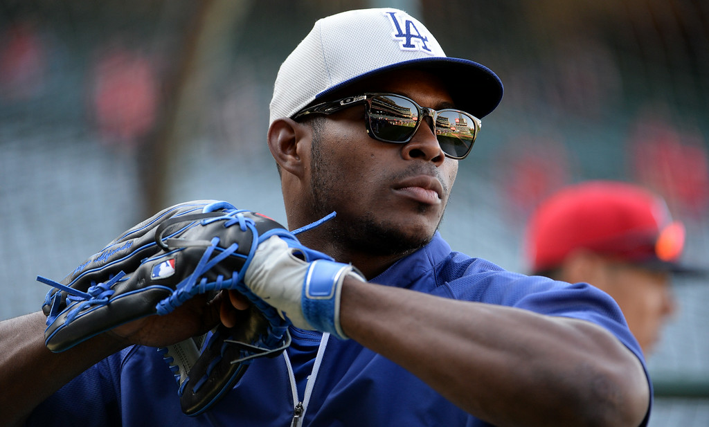 . Los Angeles Dodgers\' Yasiel Puig prior to a baseball game against the Los Angeles Angels at Anaheim Stadium in Anaheim, Calif., on Thursday, Aug. 7, 2014.  (Photo by Keith Birmingham/ Pasadena Star-News)