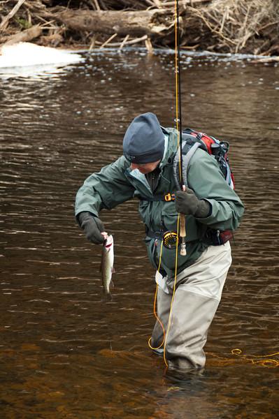 Steve at Silverman's with Cutthroat, Kadake Creek, Kuiu Island, Alaska April 2013