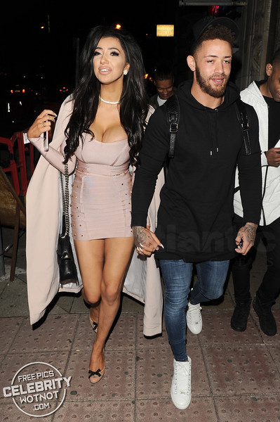 Chloe Khan Shows Off Cleavage In Bodycon Dress With Ashley Cain, MCR