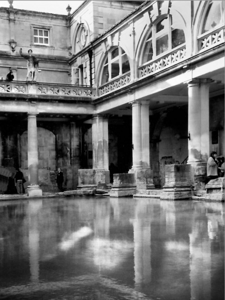 Bath England. During the first century C. E. the Romans turned this backward village into a fashionable spa from which the city took its Roman name.