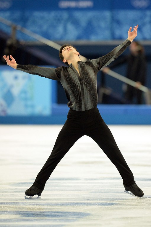 . Canada\'s Patrick Chan performs during the Men\'s Figure Skating Short Program at the Iceberg Skating Palace during the Sochi Winter Olympics on February 13, 2014.  YURI KADOBNOV/AFP/Getty Images