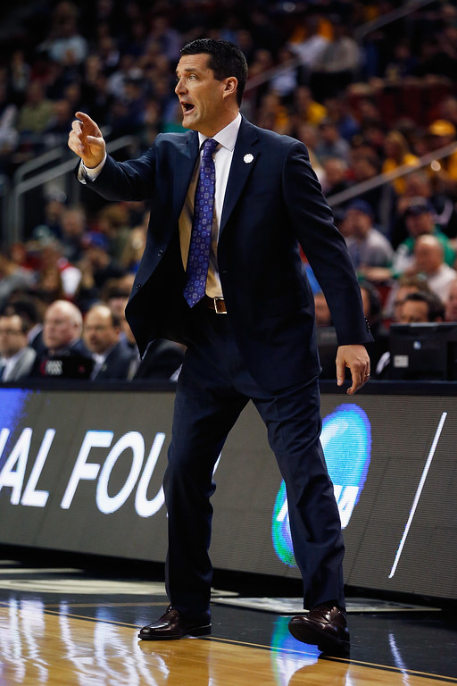 . Head coach Ben Jacobson of the Northern Iowa Panthers reacts during the first half against the Wyoming Cowboys  in the second round of the 2015 Men\'s NCAA Basketball Tournament at KeyArena on March 20, 2015 in Seattle, Washington.  (Photo by Ezra Shaw/Getty Images)