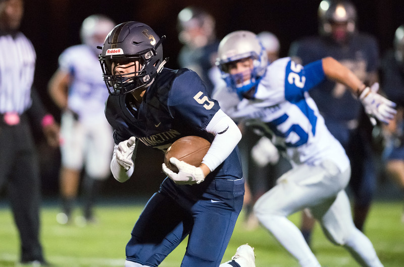 10/12/18  Wesley Bunnell | Staff  Newington football defeated Bristol Eastern 25-7 at home on Friday night. Newingtons Gunnar Johnson (5).