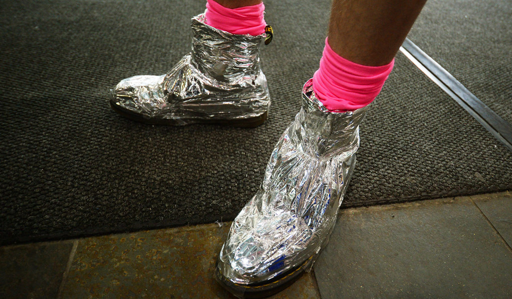 . A pair of tin foil shoes at the Lady Gaga concert.  (Pioneer Press: John Autey)