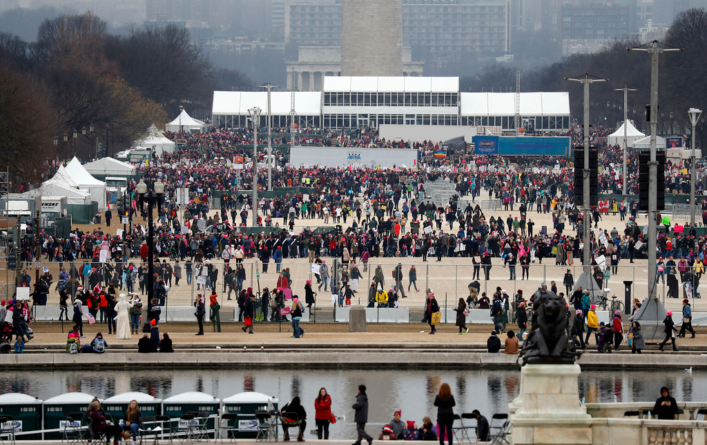 . Protesters gather on the National Mall with the Washington Monument and Lincoln Memorial in the background during the Women\'s March on Washington, Saturday, Jan. 21, 2017 in Washington. (AP Photo/Alex Brandon)