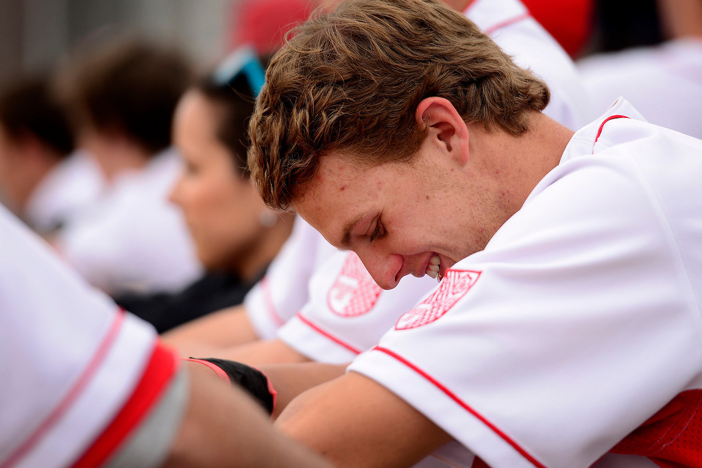 . PARKER, CO - APRIL 29: Regis Jesuit shortstop Brody Weiss laughs as his team cruises to a 10-0 win during the team\'s final home game. Weiss is the son of Colorado Rockies manager Walt Weiss. (Photo by AAron Ontiveroz/The Denver Post)