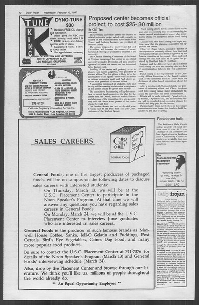 Daily Trojan, Vol. 88, No. 8, February 13, 1980