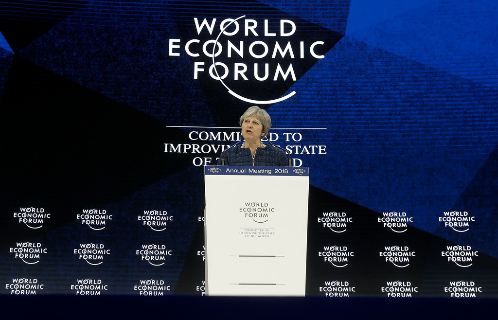 . British Prime Minister Theresa May delivers a speech during the annual meeting of the World Economic Forum in Davos, Switzerland, Thursday, Jan. 25, 2018. (AP Photo/Markus Schreiber)