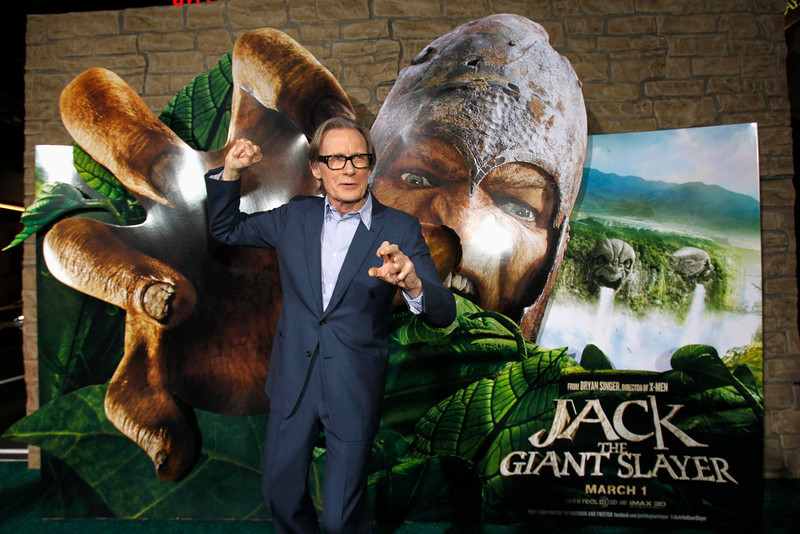 ". Cast member Bill Nighy poses at the premiere of ""Jack the Giant Slayer\"" in Hollywood, California February 26, 2013. The movie opens in the U.S. on March 1.  REUTERS/Mario Anzuoni"
