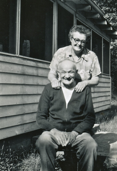 Circa: 1946, Charlie and Thelma Rausch (Dodie's adoptive parents) at the cabin.  They are the ones who gave the Cabin to Dodie and the reason we have it to this day.