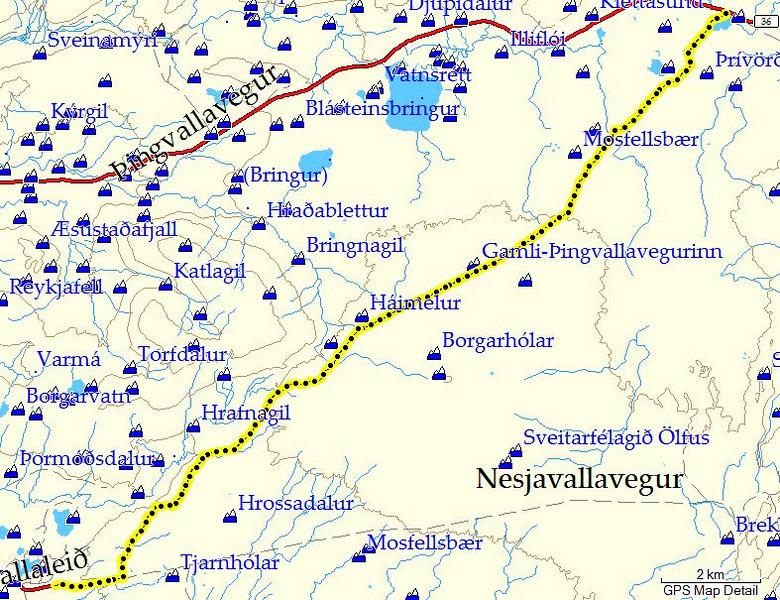 GPS ferill af leiðinni og kort úr Mapsource.