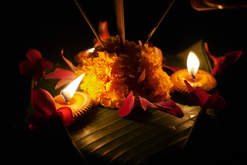 A candlelit lantern during Loy Krathong in Chiang Mai, Thailand