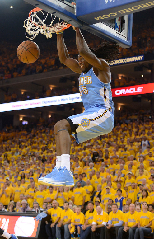 . Kenneth Faried (35) of the Denver Nuggets goes up for a dunk during the second quarter in Game 6 of the first round NBA Playoffs May 2, 2013 at Oracle Arena. (Photo By John Leyba/The Denver Post)