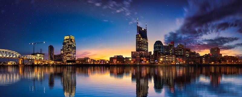 Nashville skyline blue hour