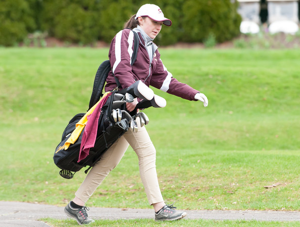 04/30/18 Wesley Bunnell   Staff Newington girls golf vs New Britain on Monday afternoon at Indian Hill Golf Club in Newington. New Britain's Cate Keithline walking off the first tee.