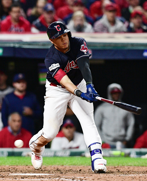 . Cleveland Indians\' Giovanny Urshela strikes out swinging in the eighth inning against the New York Yankees in Game 5 of a baseball American League Division Series, Wednesday, Oct. 11, 2017, in Cleveland. (AP Photo/David Dermer)