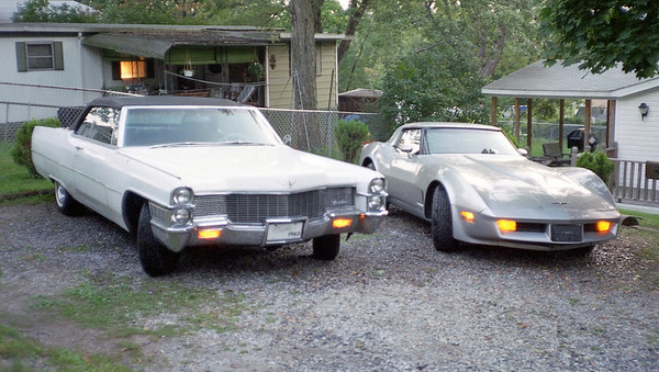 August 1994:  The Caddy & 'Vette in the driveway .  .  .