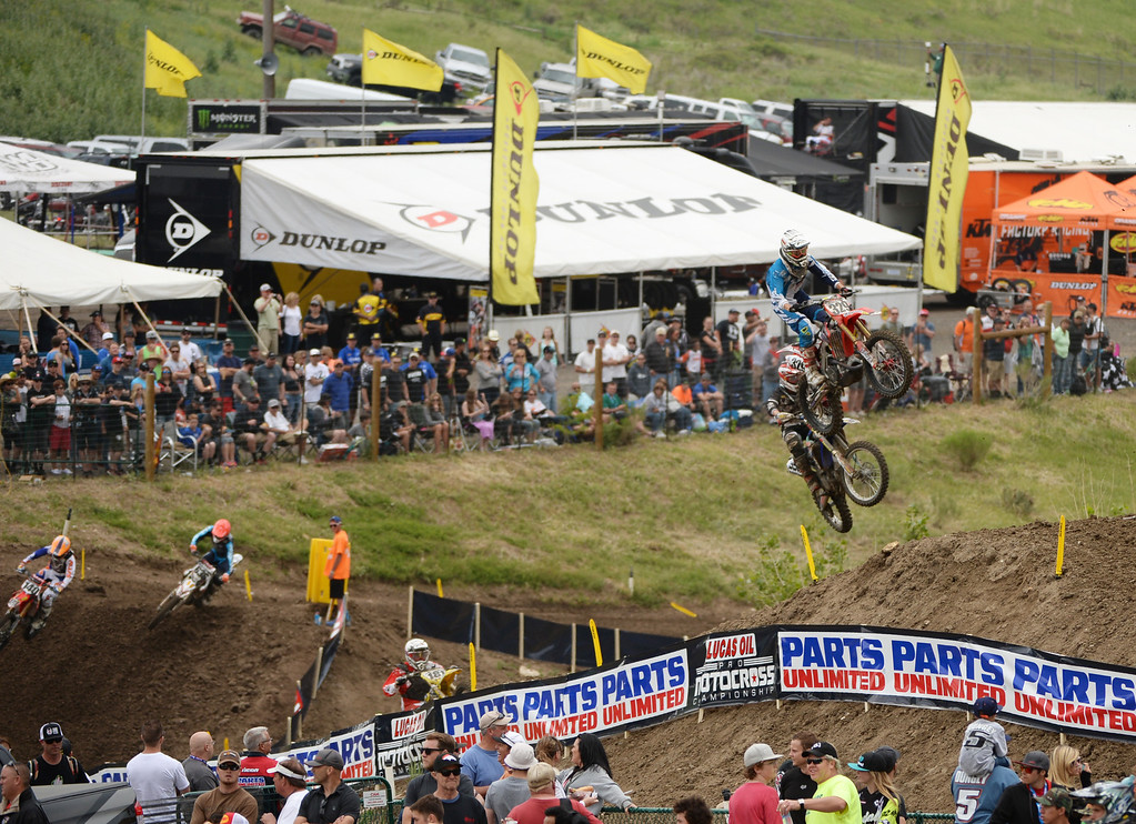 . 450 class racers compete in the mile high altitude of Thunder Valley MX Park for the third round of the Lucas Oil Pro Motocross Championship. Lakewood, Colorado. June 07. 2014. (Photo by Hyoung Chang/The Denver Post)