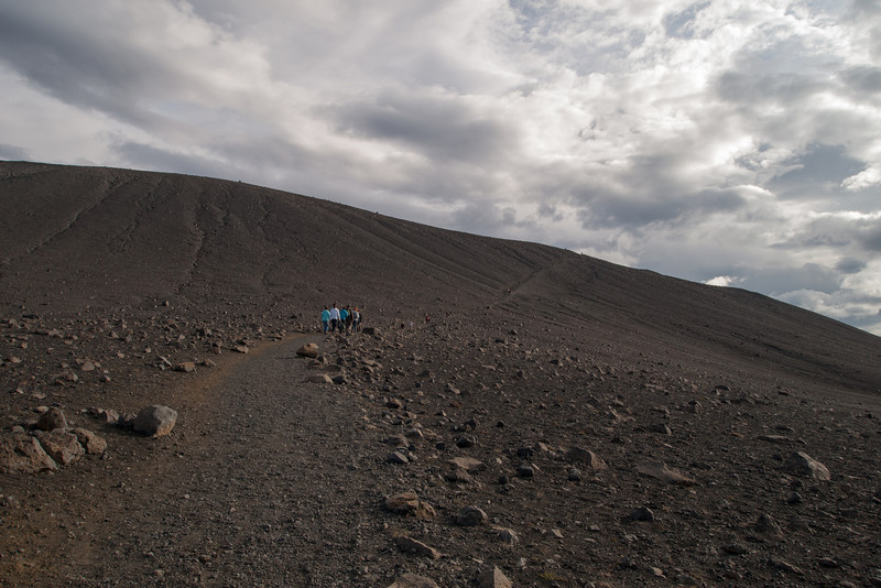 HIking up to the top of Hverfjall