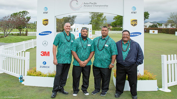 Michael Tolmie, Willie Teleso (Jnr), Pelefoti Sagapolutele and Willie Teleso (Snr) from American Samoa at the Powhiri and Official welcome to players, guests and spectators of the Asia-Pacific Amateur Championship tournament 2017 held at Royal Wellington Golf Club, in Heretaunga, Upper Hutt, New Zealand on 25 October 2017. Copyright John Mathews 2017 www.john.mathews.co.nz