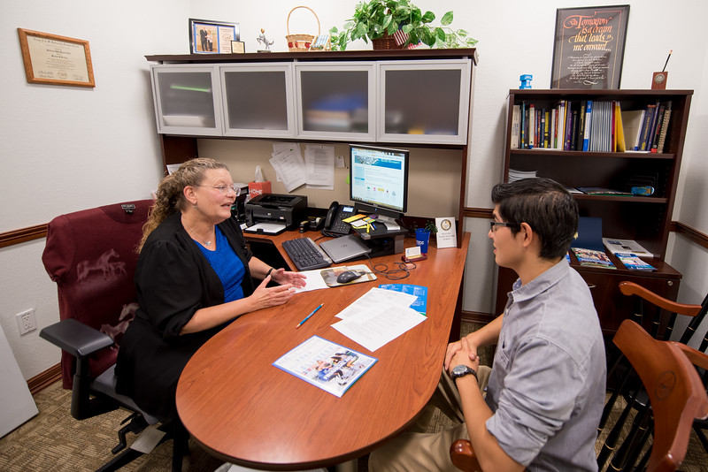 """Dr. Patricia Hill, Director of Transfer Admission Services at Texas A&M-Corpus Christi and Estevan """"Stevie"""" Espinoza"""