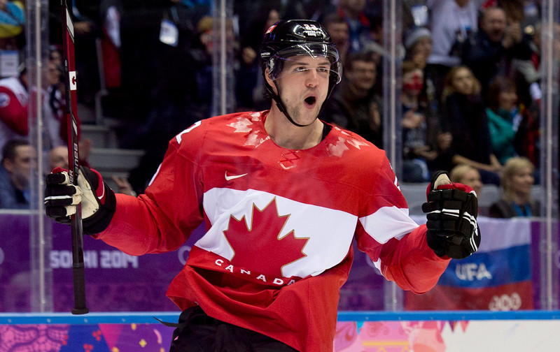 . Jamie Benn of Canada celebrates his goal against the United States in second period of the men\'s semifinal ice hockey game at the 2014 Winter Olympics, Friday, Feb. 21, 2014, in Sochi, Russia. Canada defeated the United States 1-0.  (AP Photo/The Canadian Press, Adrian Wyld)