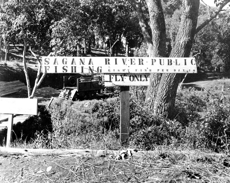 ". MAR 10 1950  Trout fishing on Mt. Kenya streams is closely regulated to use of fly and spinner only bait fishing is a ***** and in contrast to what one might expect in ""darkest\"" Africa fishing streams are well *****.  as the above signs indicate.   Credit: Denver Post"
