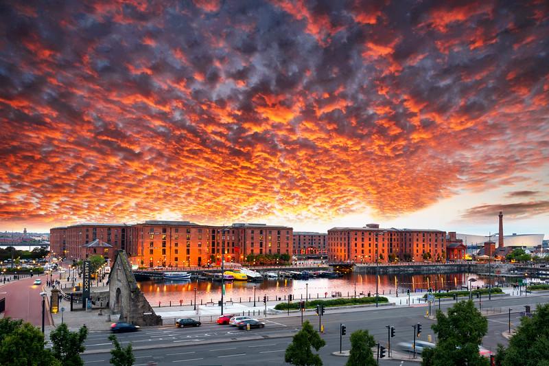 Red Mackerel Sky over Royal Albert Dock, Liverpool
