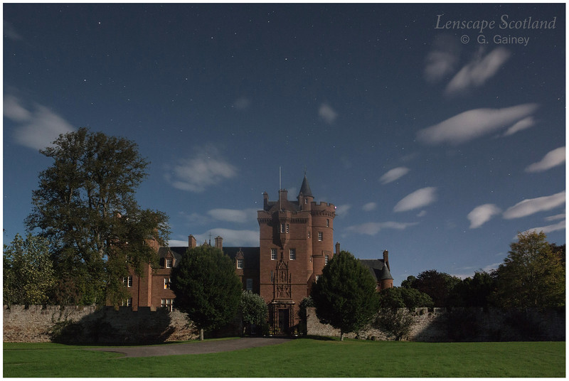 Beaufort Castle, Beauly, by the light of a full moon