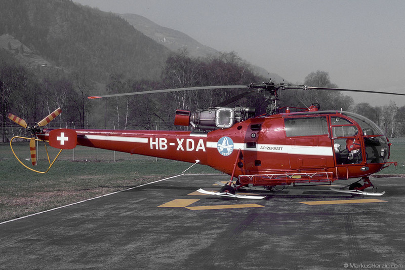HB-XDA SA316B Air Zermatt @ Raron Switzerland 30Mar91