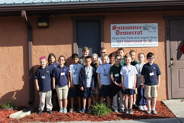 Melody Christian Academy 4th graders visit Suwannee Democrat