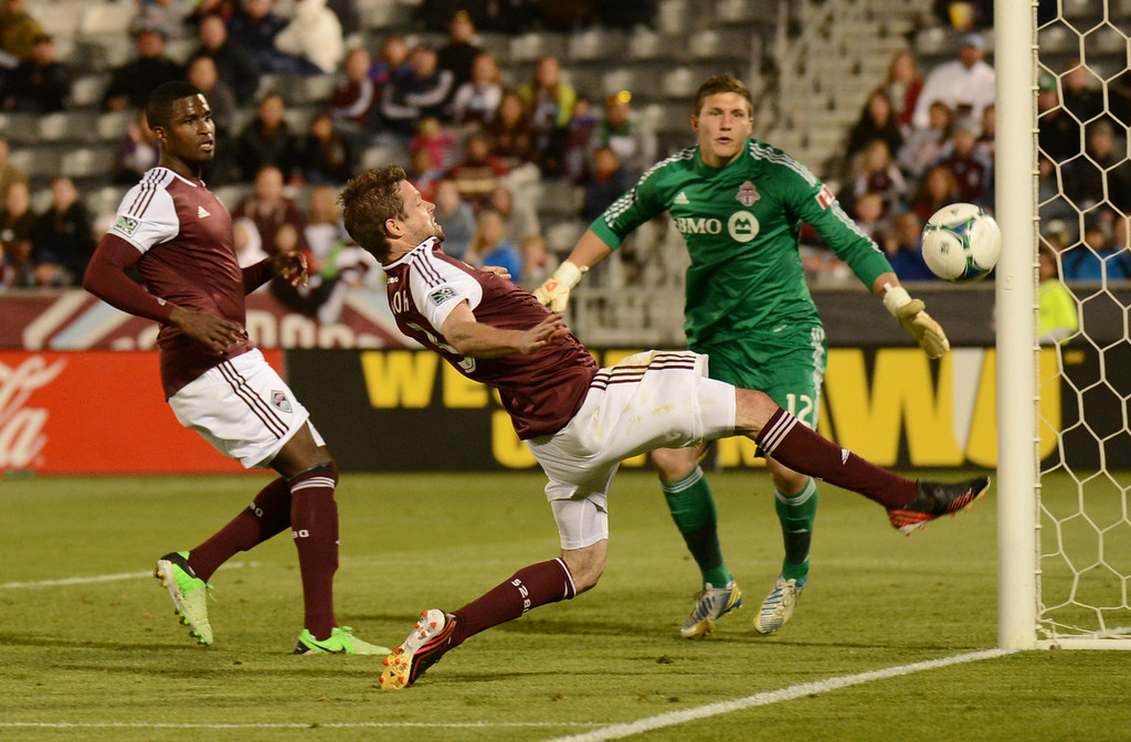 . COMMERCE CITY, CO. - MAY 04 : The ball shot by Colorado Rapids #3 Drew Moor hit the bar during the 2nd half of the game against Toronto FC at Dick\'s Sporting Goods Park in Commerce City, Colorado. May 4, 2013. Colorado won 1-0. (Photo By Hyoung Chang/The Denver Post)