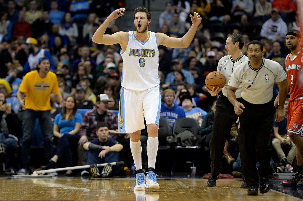 . DENVER, CO - MARCH 03: Danilo Gallinari (8) of the Denver Nuggets reacts to a possession call in favor the Milwaukee Bucks during the second half of a 106-95 Nuggets win. The Denver Nuggets hosted the Milwaukee Bucks at the Pepsi Center on Tuesday, March 3, 2015. (Photo by AAron Ontiveroz/The Denver Post)