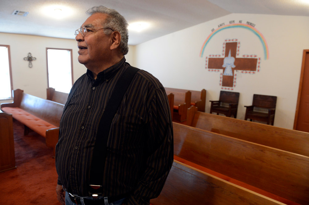 . Sand Creek Massacre descendant, American Indian, Robert Simpson, Cheyenne, Arapaho Mississippi, Choctaw,  a Methodist pastor, stands in his church, JJ Methvin United Methodist Church, in Anadarko Oklahoma December 1st 2012. Simpson is on the board for the Sand Creek Massacre Descendants Trust which is trying to get an apology and compensation from the United States government for the 1864 Sand Creek Massacre in southeast Colorado where over 150 Cheyenne and Arapaho Indians were killed in their village by Colorado militiamen lead by Col. John Chivington. Chief White Antelope, who was killed at Sand Creek, is Simpson\'s great great grandfather. The Denver Post/ Andy Cross