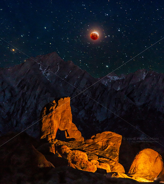 Lone Pine Peak and the Eclipsed Moon at Boot Arch