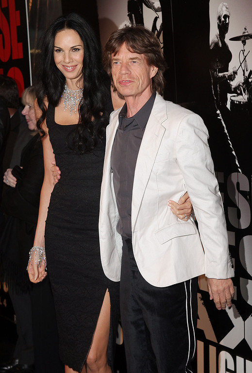 . Musician Mick Jagger of the Rolling Stones and L\'Wren Scott arrive at the premiere of \'Shine A Light\' at the Ziegfeld Theater March 30, 2008 in New York City.  (Photo by Scott Gries/Getty Images)