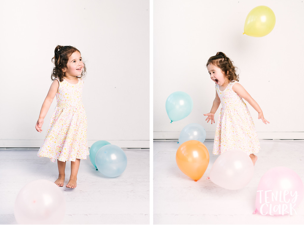Colorful studio toddler model headshot portfolio session-JE Kids -San Jose, CA by Tenley Clark Photography. Balloons. Alice & Ames