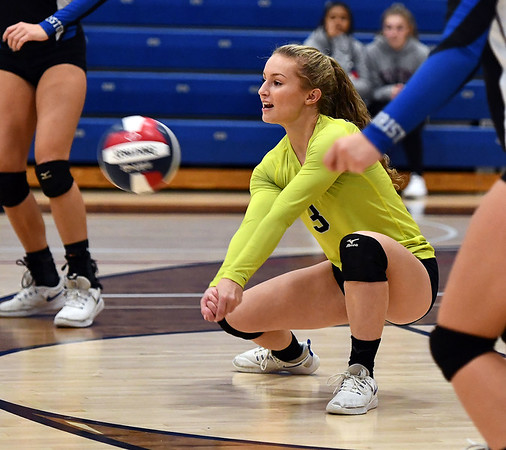 11/7/2019 Mike Orazzi | StaffrBristol Eastern's Rebecca Bender (3) during the CCC girls volleyball tournament at Avon High School on Thursday. r