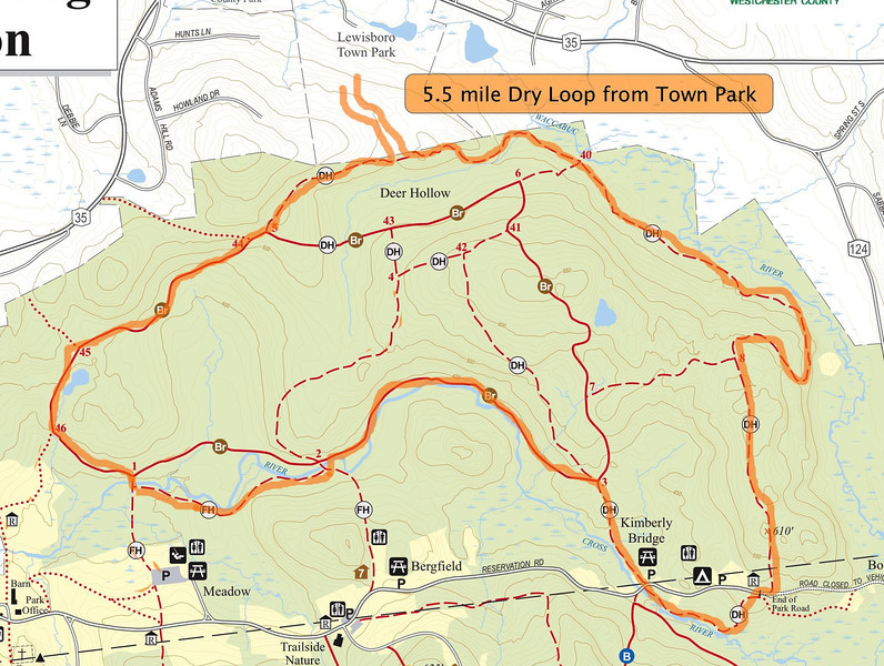 """5.5 Mile """"Dry Loop"""" from Lewisboro Town Park including some of the Leatherman's Loop trails. Skips the mud flats, water crossings, and the Meadow start/finish. The other dry loop option show includes the meadow and the pine forest. This is more like a circumnavigation of the northern trails in the park."""