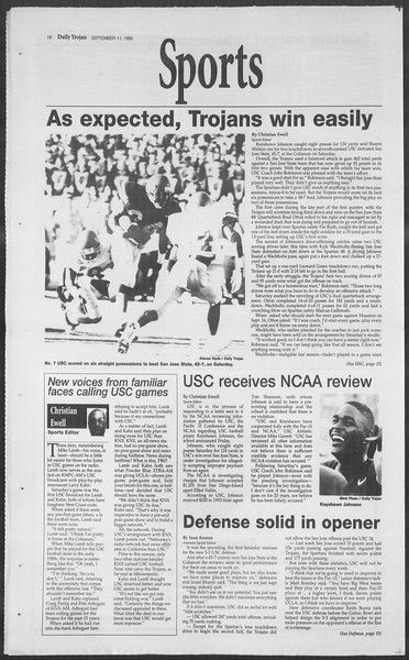 Daily Trojan, Vol. 126, No. 7, September 11, 1995