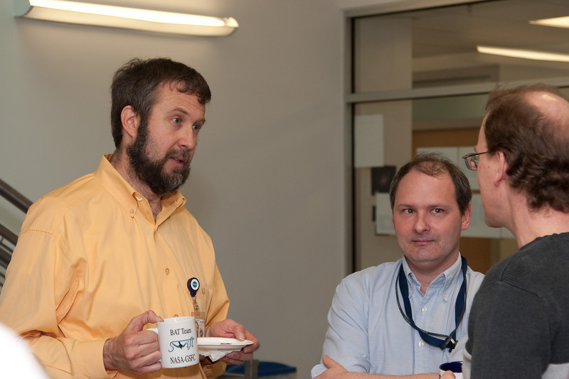 Hans Krimm, Keith Gendreau, and Tod Strohmayer -- March 2011 new staff welcome coffee, Astrophysics Science Division, NASA/ Goddard Space Flight Center